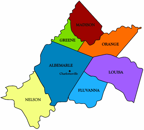 County map of Central Virginia